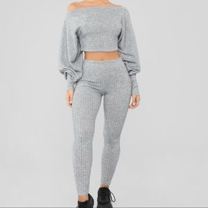 Fashion Nova Ribbed heather grey lounge suit.